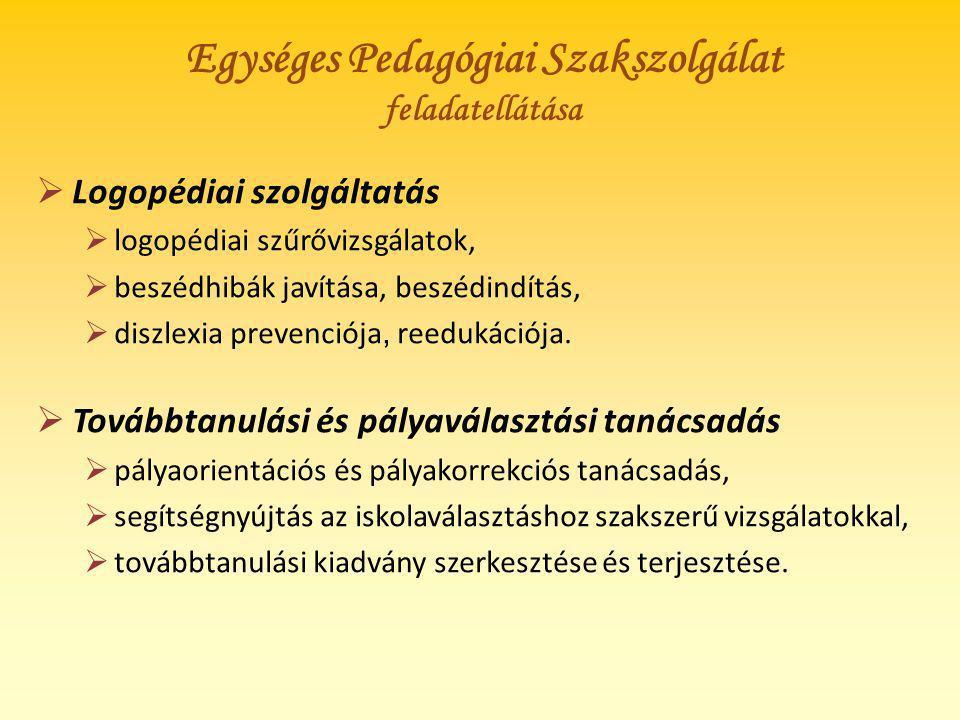 Egységes Pedagógiai Szakszolgálat feladatellátása  Logopédiai szolgáltatás  logopédiai szűrővizsgálatok,  beszédhibák javítása, beszédindítás,  di