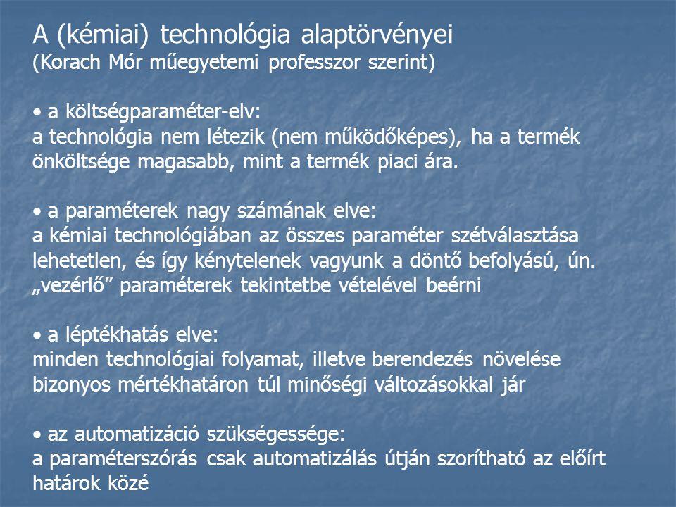 A (kémiai) technológia alaptörvényei (Korach Mór műegyetemi professzor szerint) a költségparaméter-elv: a technológia nem létezik (nem működőképes), ha a termék önköltsége magasabb, mint a termék piaci ára.