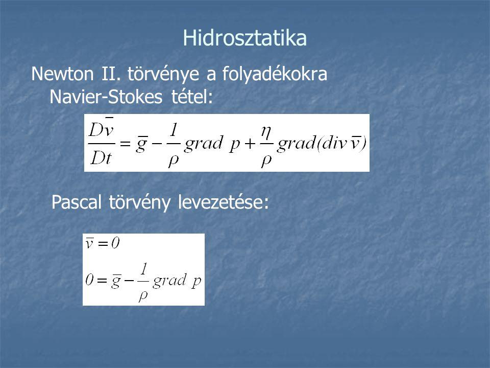 Hidrosztatika Newton II. törvénye a folyadékokra Navier-Stokes tétel: Pascal törvény levezetése: