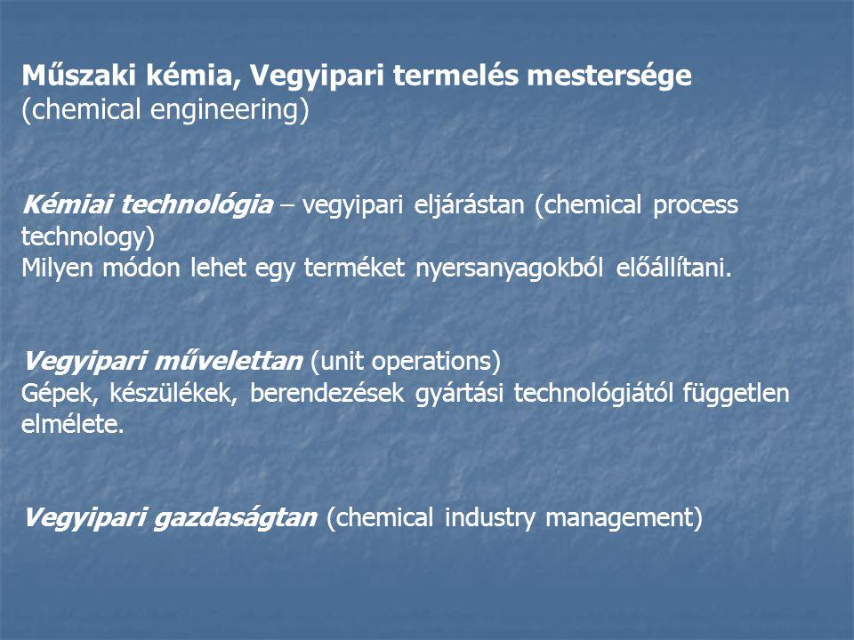 Műszaki kémia, Vegyipari termelés mestersége (chemical engineering) Kémiai technológia – vegyipari eljárástan (chemical process technology) Milyen módon lehet egy terméket nyersanyagokból előállítani.