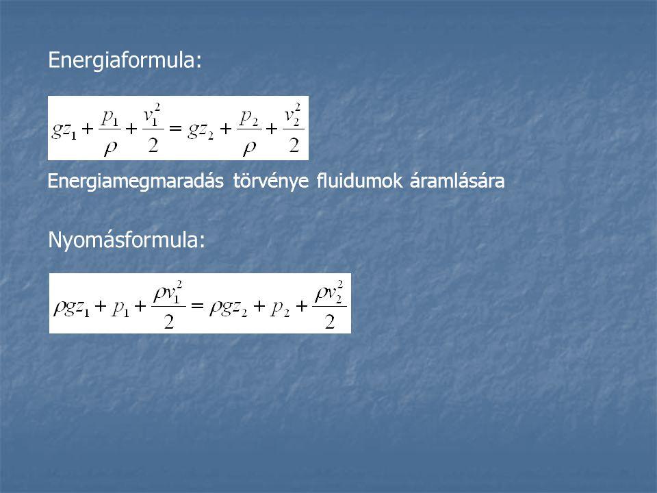 Energiaformula: Nyomásformula: Energiamegmaradás törvénye fluidumok áramlására