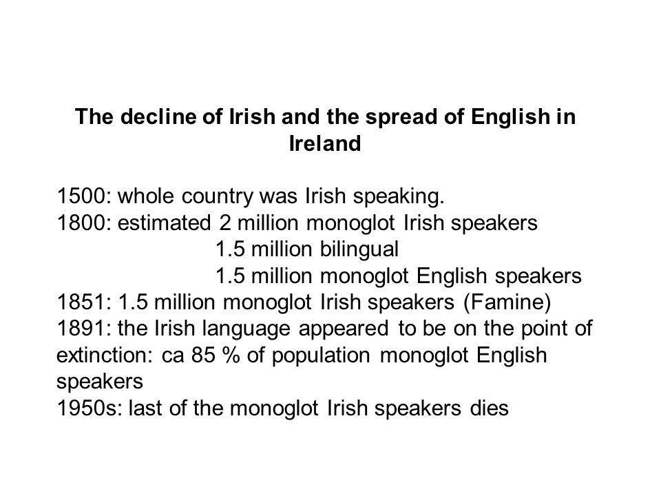 The decline of Irish and the spread of English in Ireland 1500: whole country was Irish speaking.