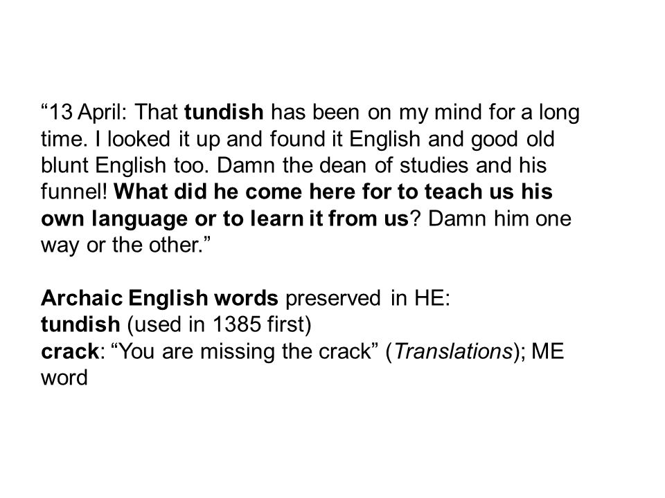 13 April: That tundish has been on my mind for a long time.