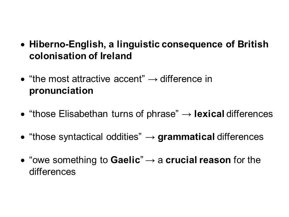 Distinguishing Features of Hiberno-English Hybridity, linguistic inventiveness Phonology (Pronunciation) Vocabulary Grammar