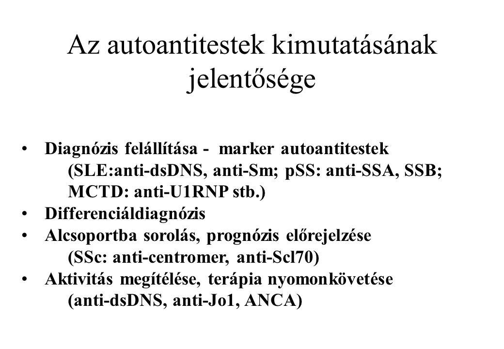 Az autoantitestek kimutatásának jelentősége Diagnózis felállítása - marker autoantitestek (SLE:anti-dsDNS, anti-Sm; pSS: anti-SSA, SSB; MCTD: anti-U1R