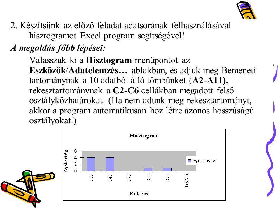 2. Készítsünk az előző feladat adatsorának felhasználásával hisztogramot Excel program segítségével! A megoldás főbb lépései: Válasszuk ki a Hisztogra