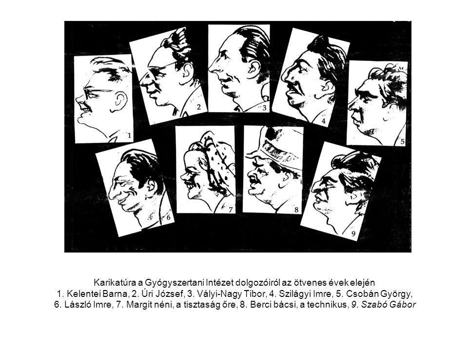 Karikatúra a Gyógyszertani Intézet dolgozóiról az ötvenes évek elején 1.