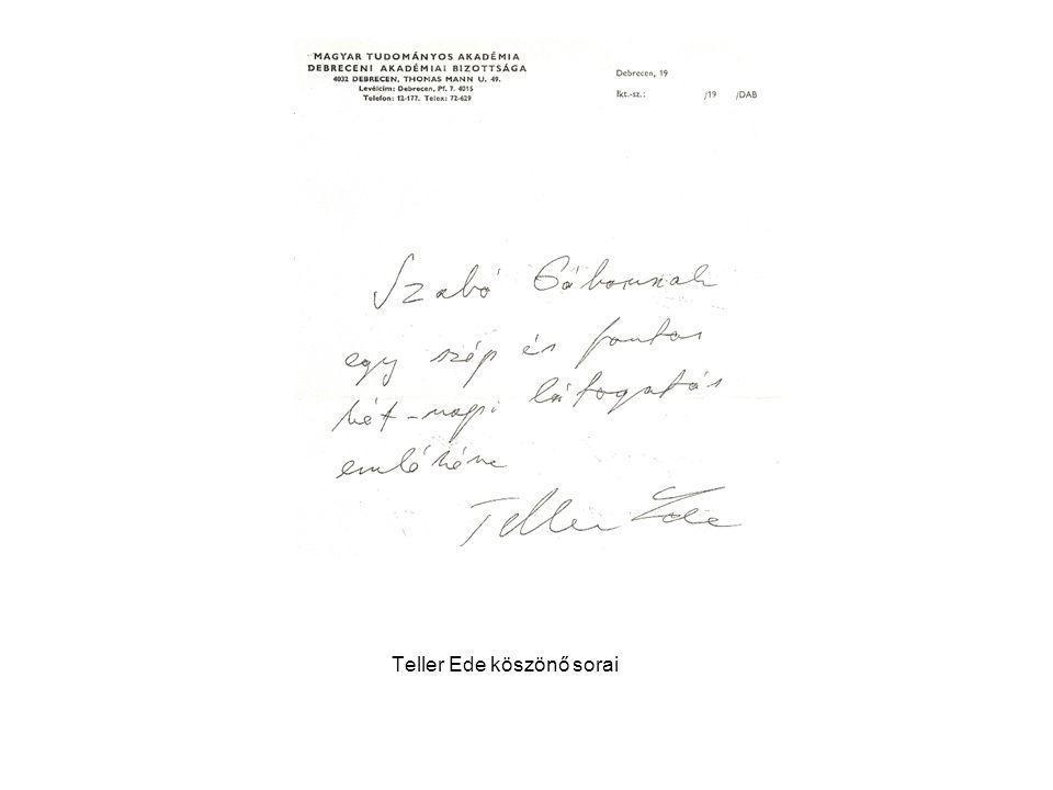 Teller Ede köszönő sorai