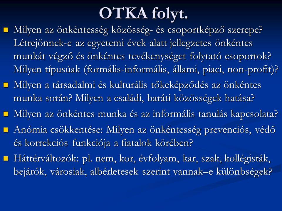 OTKA folyt. Milyen az önkéntesség közösség- és csoportképző szerepe.