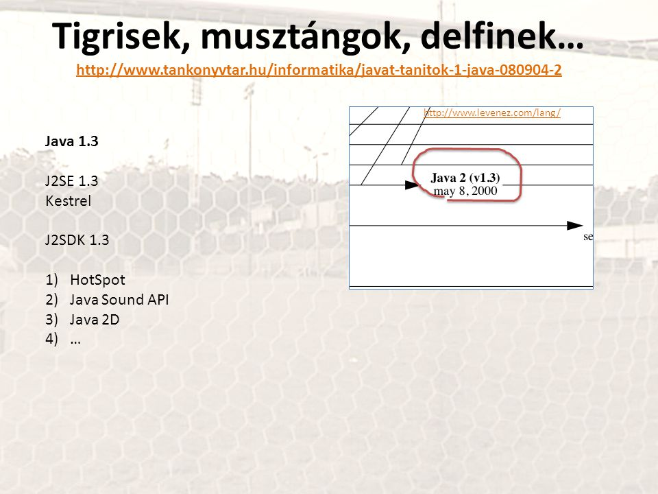 Tigrisek, musztángok, delfinek… http://www.tankonyvtar.hu/informatika/javat-tanitok-1-java-080904-2 http://www.tankonyvtar.hu/informatika/javat-tanitok-1-java-080904-2 Java 1.3 J2SE 1.3 Kestrel J2SDK 1.3 1)HotSpot 2)Java Sound API 3)Java 2D 4)… http://www.levenez.com/lang/