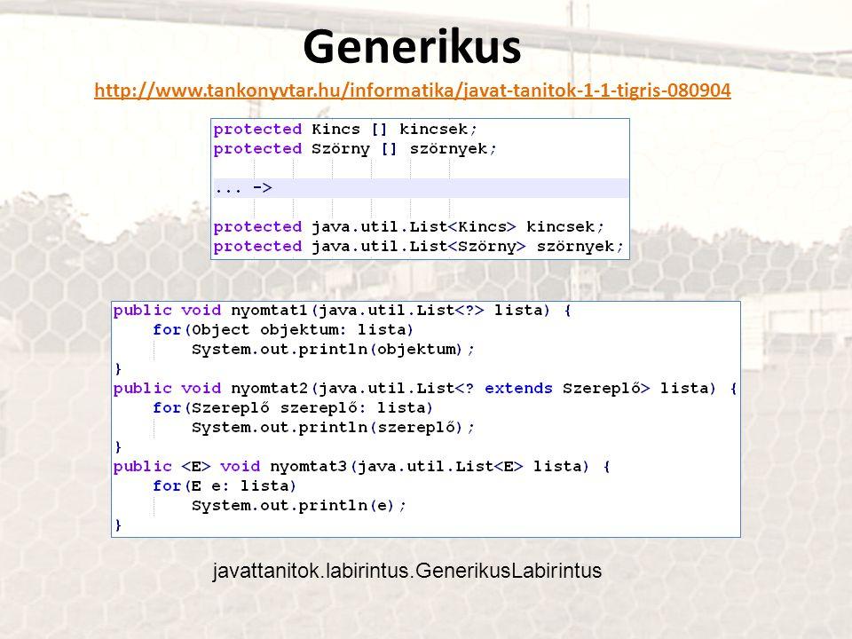Generikus http://www.tankonyvtar.hu/informatika/javat-tanitok-1-1-tigris-080904 javattanitok.labirintus.GenerikusLabirintus