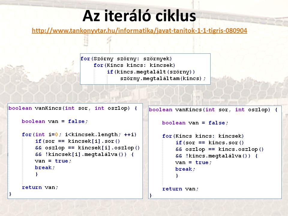 Az iteráló ciklus http://www.tankonyvtar.hu/informatika/javat-tanitok-1-1-tigris-080904