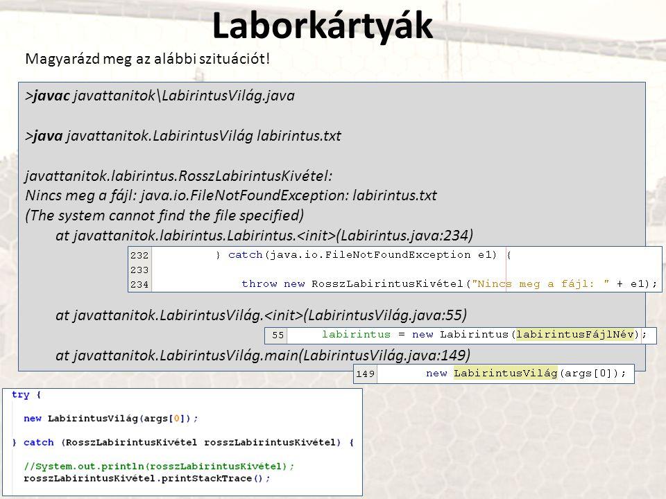 Laborkártyák Magyarázd meg az alábbi szituációt! >javac javattanitok\LabirintusVilág.java >java javattanitok.LabirintusVilág labirintus.txt javattanit