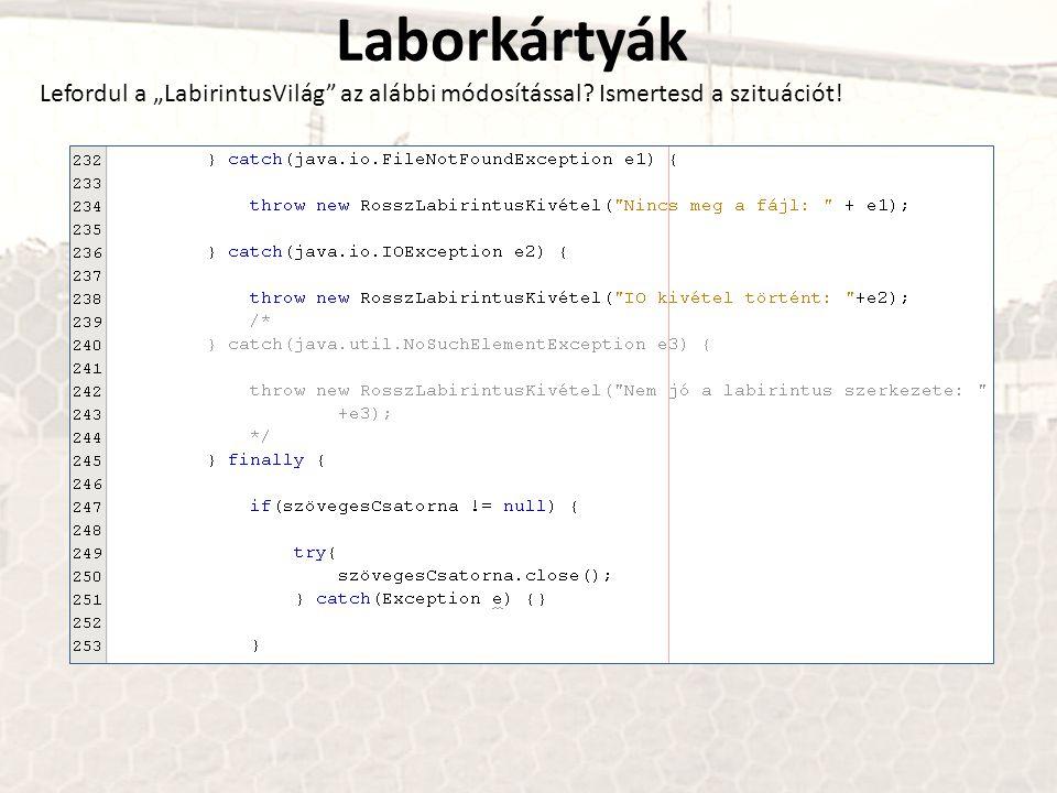 """Laborkártyák Lefordul a """"LabirintusVilág"""" az alábbi módosítással? Ismertesd a szituációt!"""