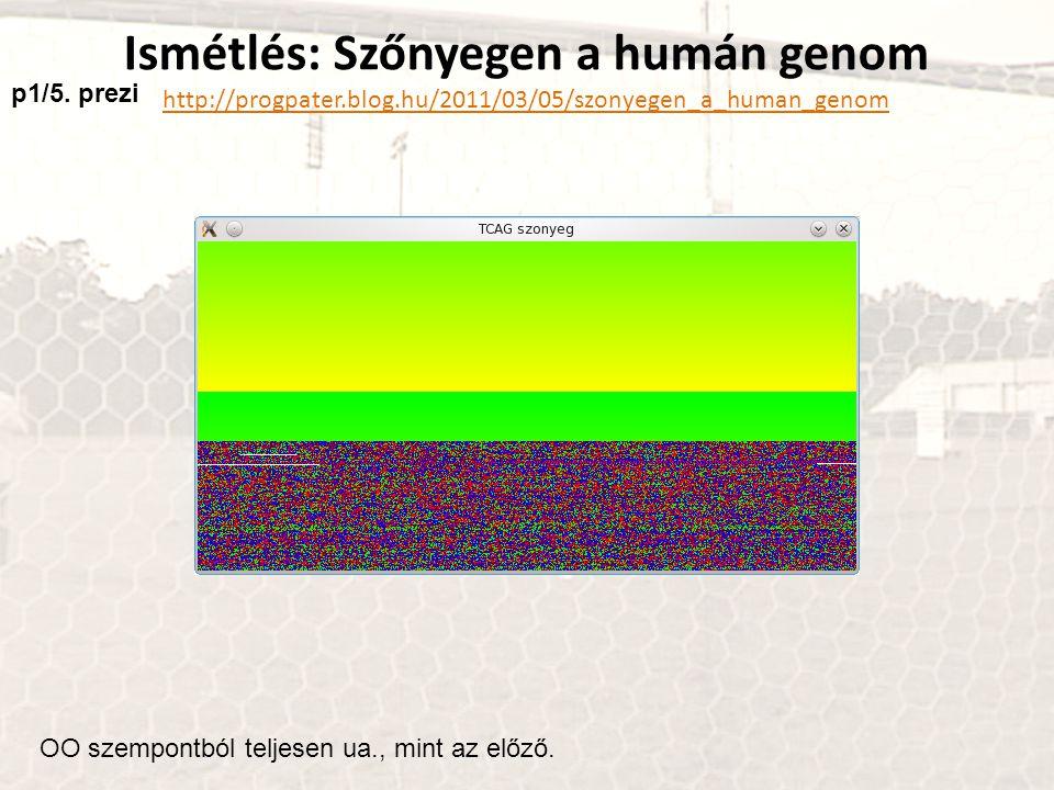 Ismétlés: Szőnyegen a humán genom http://progpater.blog.hu/2011/03/05/szonyegen_a_human_genom OO szempontból teljesen ua., mint az előző. p1/5. prezi