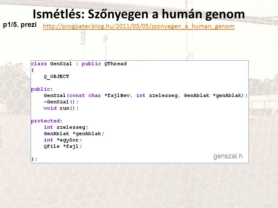 Ismétlés: Szőnyegen a humán genom http://progpater.blog.hu/2011/03/05/szonyegen_a_human_genom genszal.h p1/5. prezi