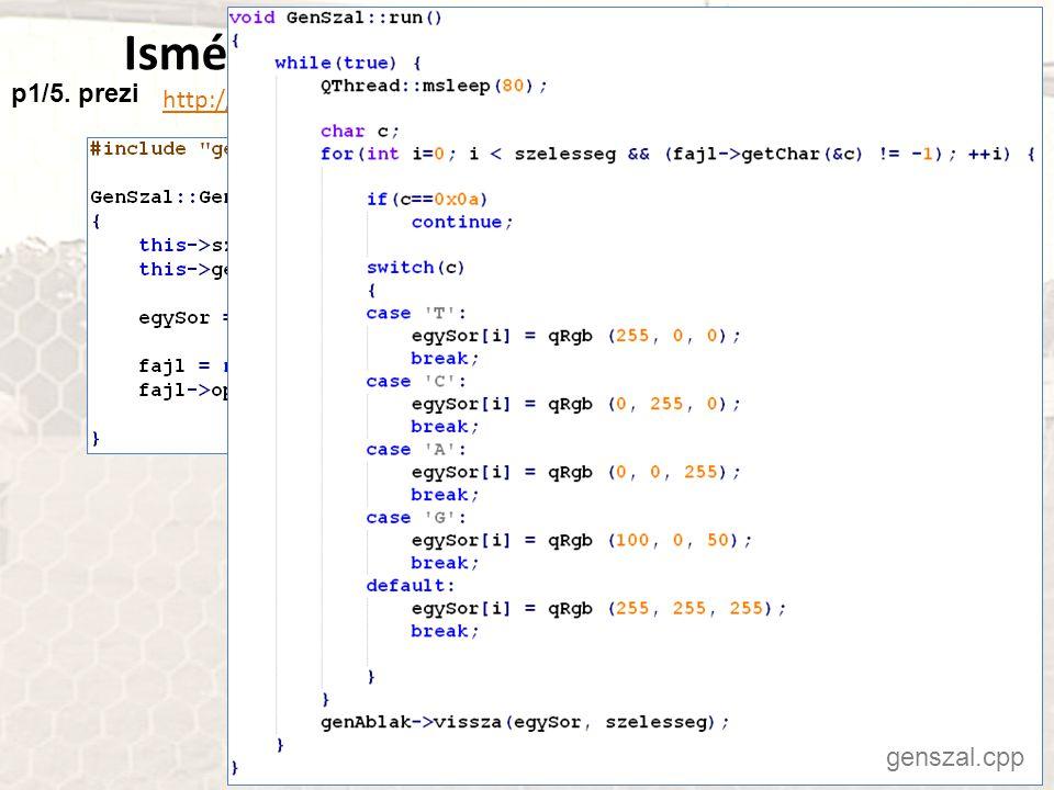 Ismétlés: Szőnyegen a humán genom http://progpater.blog.hu/2011/03/05/szonyegen_a_human_genom genszal.cpp p1/5.