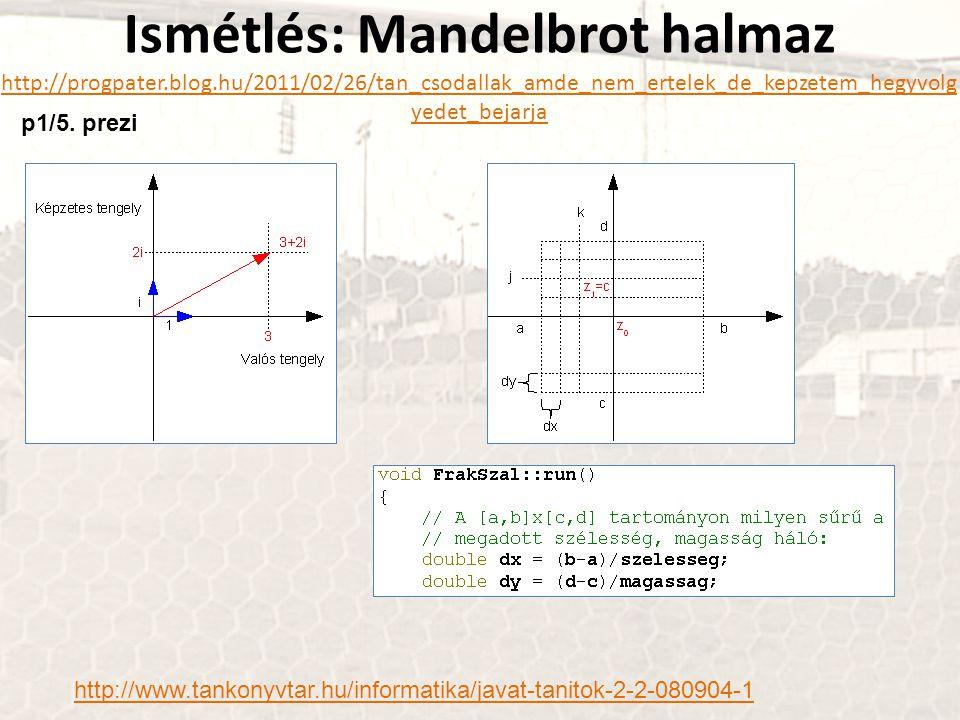 Ismétlés: Mandelbrot halmaz http://progpater.blog.hu/2011/02/26/tan_csodallak_amde_nem_ertelek_de_kepzetem_hegyvolg yedet_bejarja http://progpater.blo