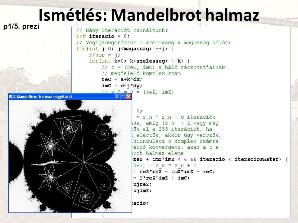 Ismétlés: Mandelbrot halmaz p1/5. prezi