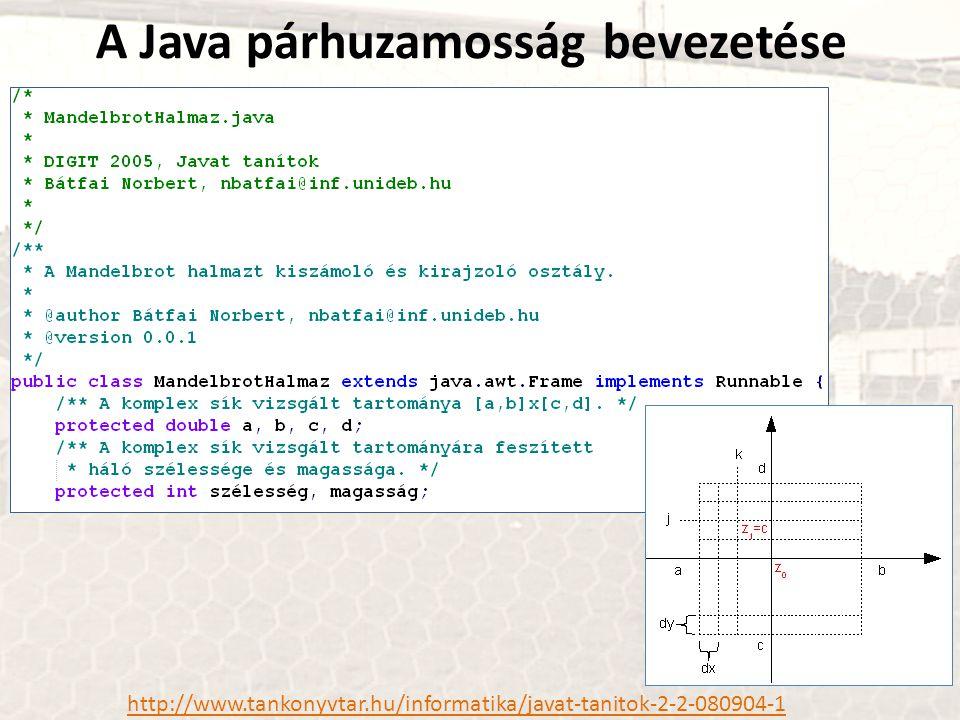 A Java párhuzamosság bevezetése http://www.tankonyvtar.hu/informatika/javat-tanitok-2-2-080904-1