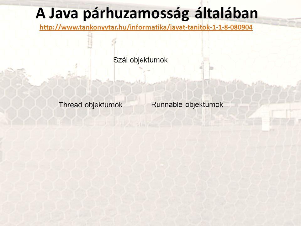 A Java párhuzamosság általában http://www.tankonyvtar.hu/informatika/javat-tanitok-1-1-8-080904 http://www.tankonyvtar.hu/informatika/javat-tanitok-1-1-8-080904 Szál objektumok Thread objektumok Runnable objektumok