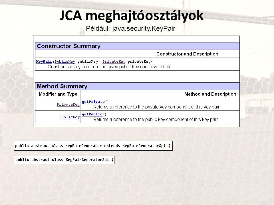 JCA meghajtóosztályok Például: java.security.KeyPair