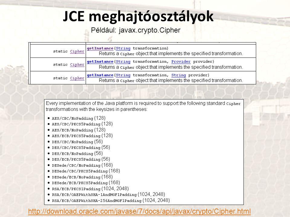 JCE meghajtóosztályok Például: javax.crypto.Cipher http://download.oracle.com/javase/7/docs/api/javax/crypto/Cipher.html