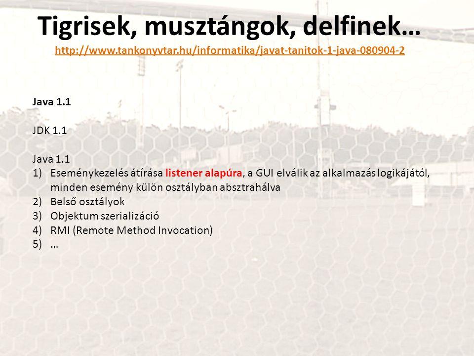 Tigrisek, musztángok, delfinek… http://www.tankonyvtar.hu/informatika/javat-tanitok-1-java-080904-2 http://www.tankonyvtar.hu/informatika/javat-tanitok-1-java-080904-2 Java 1.1 JDK 1.1 Java 1.1 1)Eseménykezelés átírása listener alapúra, a GUI elválik az alkalmazás logikájától, minden esemény külön osztályban absztrahálva 2)Belső osztályok 3)Objektum szerializáció 4)RMI (Remote Method Invocation) 5)…