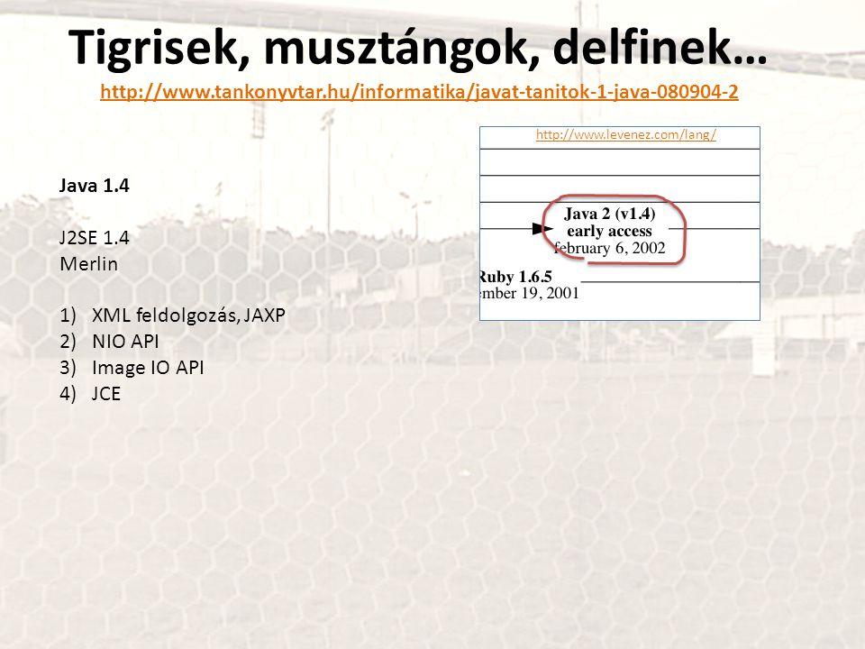 Tigrisek, musztángok, delfinek… http://www.tankonyvtar.hu/informatika/javat-tanitok-1-java-080904-2 http://www.tankonyvtar.hu/informatika/javat-tanitok-1-java-080904-2 Java 1.4 J2SE 1.4 Merlin 1)XML feldolgozás, JAXP 2)NIO API 3)Image IO API 4)JCE http://www.levenez.com/lang/