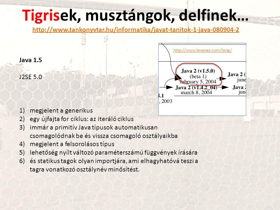 Tigrisek, musztángok, delfinek… http://www.tankonyvtar.hu/informatika/javat-tanitok-1-java-080904-2 http://www.tankonyvtar.hu/informatika/javat-tanitok-1-java-080904-2 Java 1.5 J2SE 5.0 1)megjelent a generikus 2)egy újfajta for ciklus: az iteráló ciklus 3)immár a primitív Java típusok automatikusan csomagolódnak be és vissza csomagoló osztályaikba 4)megjelent a felsorolásos típus 5)lehetőség nyílt változó paraméterszámú függvények írására 6)és statikus tagok olyan importjára, ami elhagyhatóvá teszi a tagra vonatkozó osztálynév minősítést.