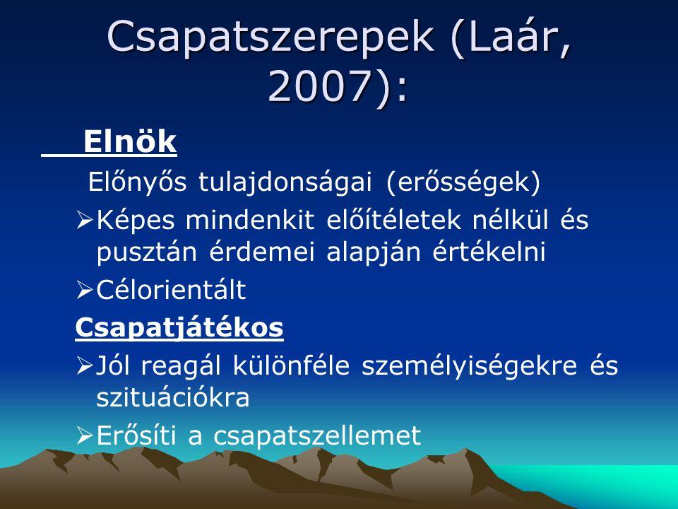 Csapatszerepek (Laár, 2007): Elnök Előnyős tulajdonságai (erősségek)  Képes mindenkit előítéletek nélkül és pusztán érdemei alapján értékelni  Célor