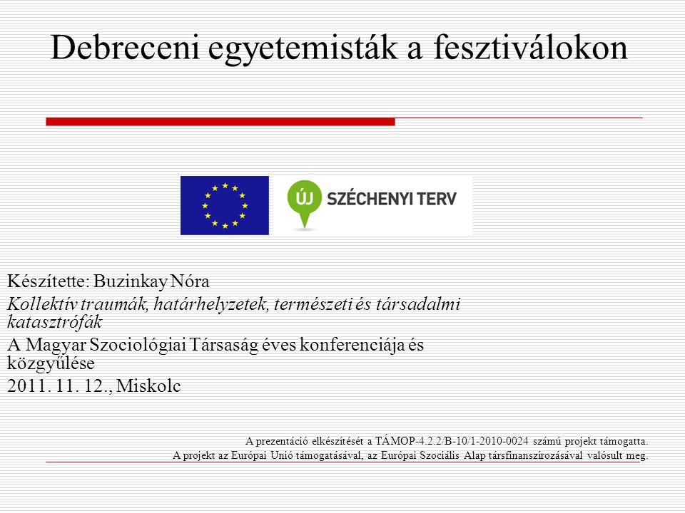 Debreceni egyetemisták a fesztiválokon Készítette: Buzinkay Nóra Kollektív traumák, határhelyzetek, természeti és társadalmi katasztrófák A Magyar Szo