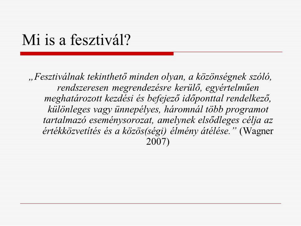"""Mi is a fesztivál? """"Fesztiválnak tekinthető minden olyan, a közönségnek szóló, rendszeresen megrendezésre kerülő, egyértelműen meghatározott kezdési é"""