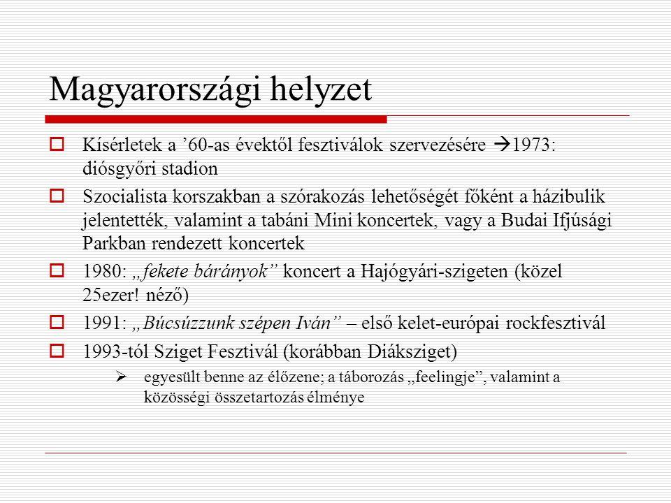 """Magyarországi helyzet  Kísérletek a '60-as évektől fesztiválok szervezésére  1973: diósgyőri stadion  Szocialista korszakban a szórakozás lehetőségét főként a házibulik jelentették, valamint a tabáni Mini koncertek, vagy a Budai Ifjúsági Parkban rendezett koncertek  1980: """"fekete bárányok koncert a Hajógyári-szigeten (közel 25ezer."""