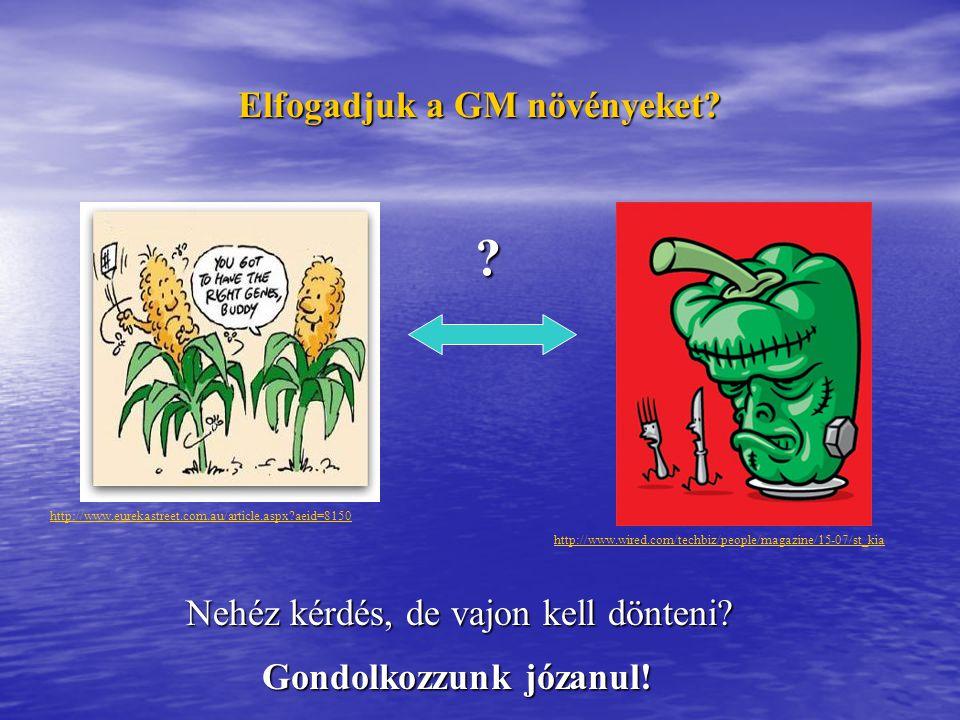 Elfogadjuk a GM növényeket? ? Nehéz kérdés, de vajon kell dönteni? http://www.eurekastreet.com.au/article.aspx?aeid=8150 http://www.wired.com/techbiz/