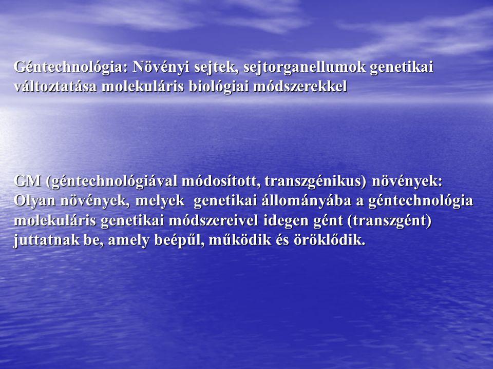 Géntechnológia: Növényi sejtek, sejtorganellumok genetikai változtatása molekuláris biológiai módszerekkel GM (géntechnológiával módosított, transzgén