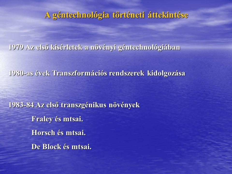 A géntechnológia történeti áttekintése 1979 Az első kísérletek a növényi géntechnológiában 1980-as évek Transzformációs rendszerek kidolgozása 1983-84
