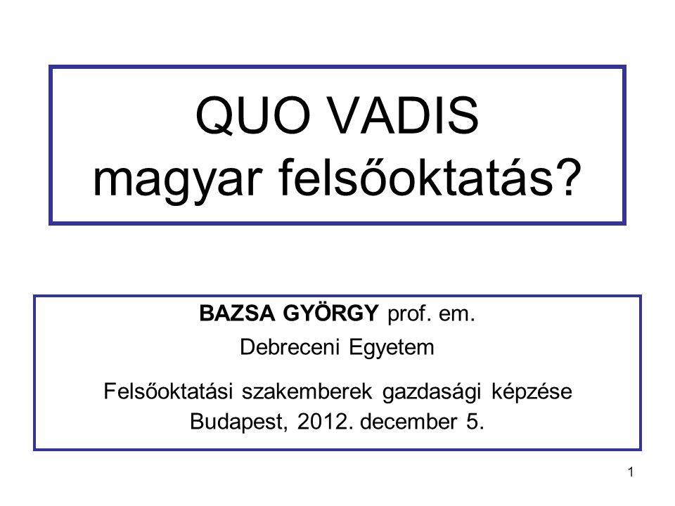 1 QUO VADIS magyar felsőoktatás. BAZSA GYÖRGY prof.