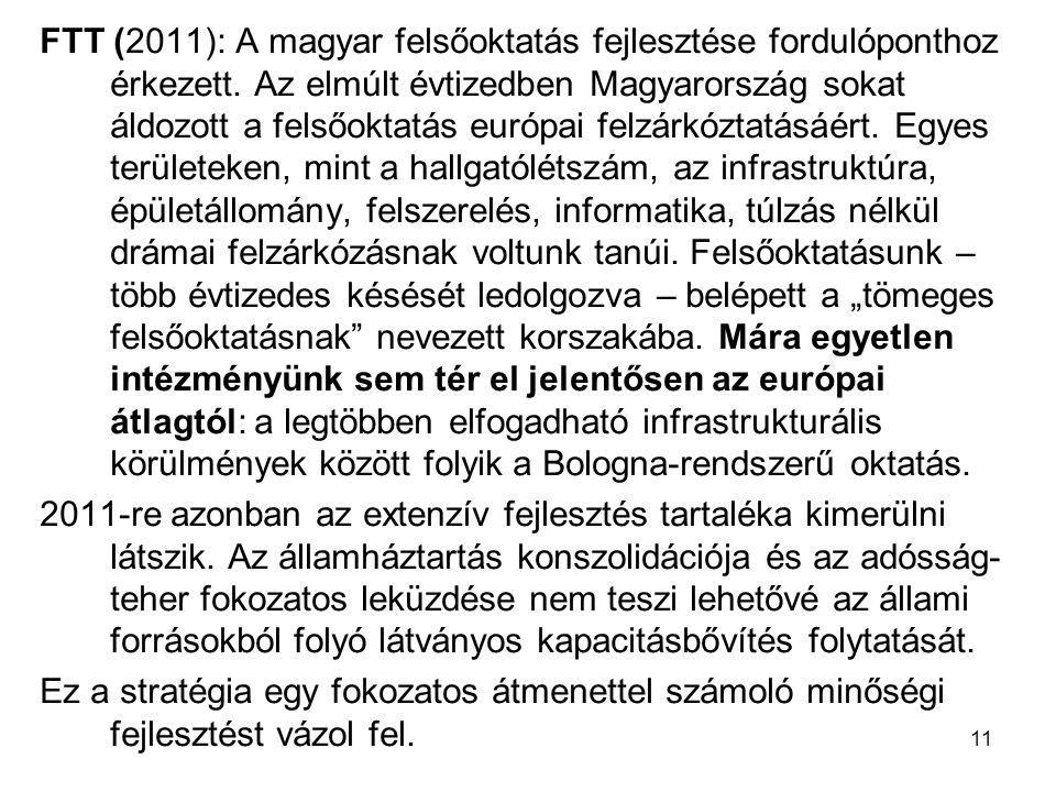 11 FTT (2011): A magyar felsőoktatás fejlesztése fordulóponthoz érkezett.