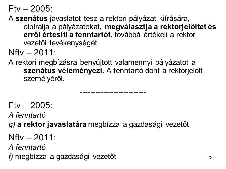 23 Ftv – 2005: A szenátus javaslatot tesz a rektori pályázat kiírására, elbírálja a pályázatokat, megválasztja a rektorjelöltet és erről értesíti a fenntartót, továbbá értékeli a rektor vezetői tevékenységét.