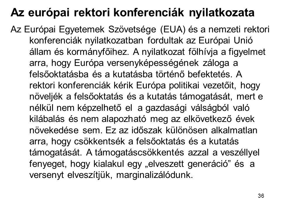 36 Az európai rektori konferenciák nyilatkozata Az Európai Egyetemek Szövetsége (EUA) és a nemzeti rektori konferenciák nyilatkozatban fordultak az Európai Unió állam és kormányfőihez.