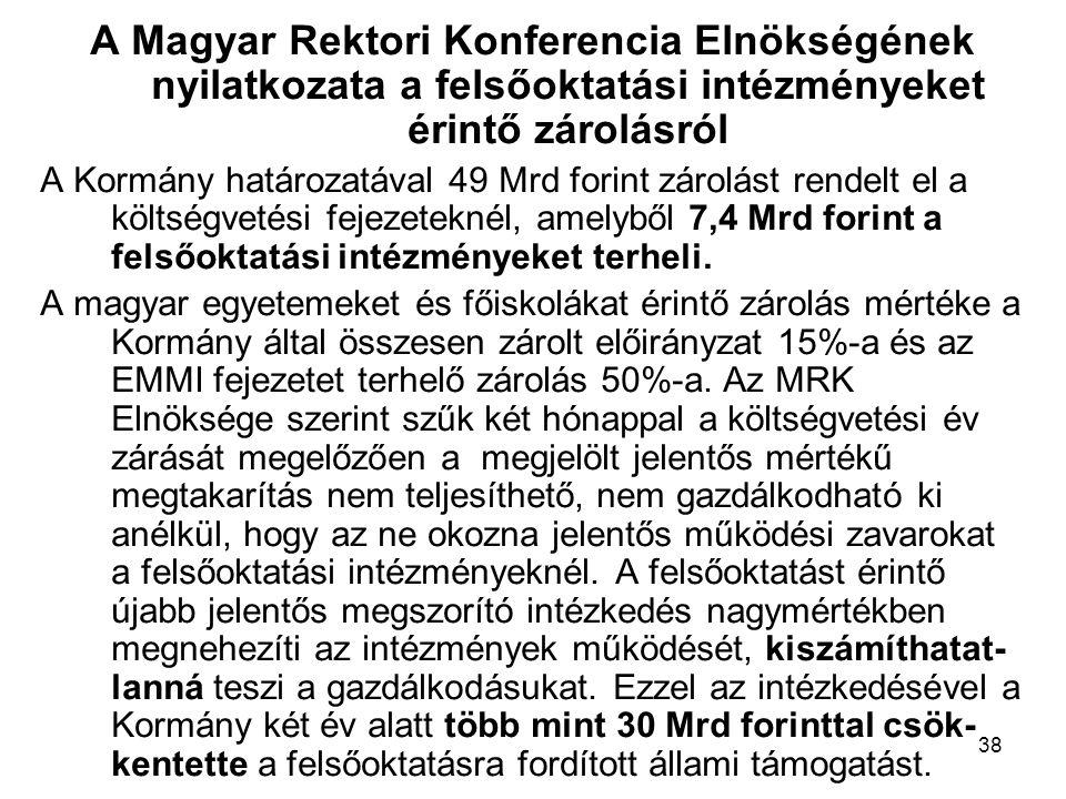 38 A Magyar Rektori Konferencia Elnökségének nyilatkozata a felsőoktatási intézményeket érintő zárolásról A Kormány határozatával 49 Mrd forint zárolást rendelt el a költségvetési fejezeteknél, amelyből 7,4 Mrd forint a felsőoktatási intézményeket terheli.