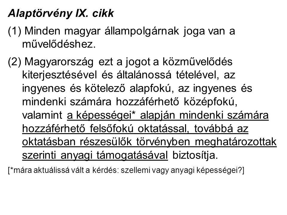 Alaptörvény IX. cikk (1) Minden magyar állampolgárnak joga van a művelődéshez.