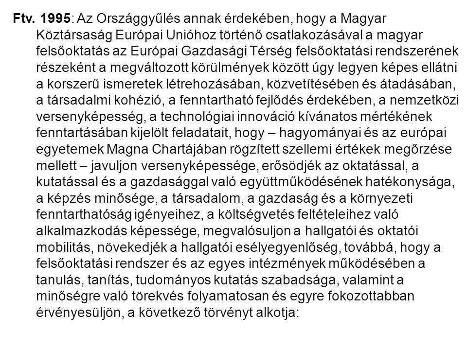 Ftv. 1995: Az Országgyűlés annak érdekében, hogy a Magyar Köztársaság Európai Unióhoz történő csatlakozásával a magyar felsőoktatás az Európai Gazdasá