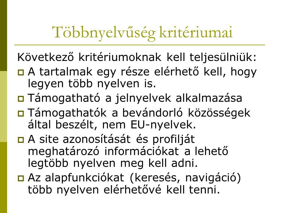 Következő kritériumoknak kell teljesülniük:  A tartalmak egy része elérhető kell, hogy legyen több nyelven is.