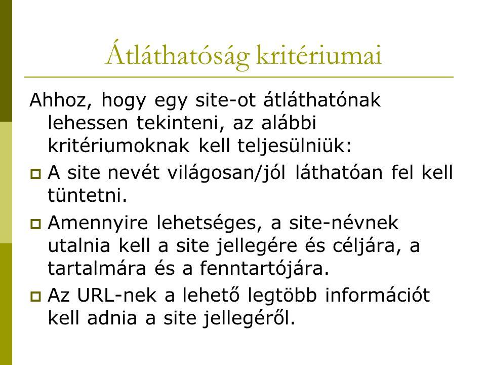 Átláthatóság kritériumai Ahhoz, hogy egy site-ot átláthatónak lehessen tekinteni, az alábbi kritériumoknak kell teljesülniük:  A site nevét világosan/jól láthatóan fel kell tüntetni.