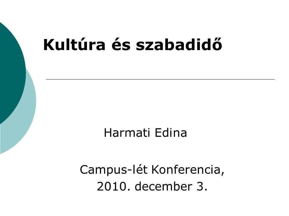 Kultúra és szabadidő Harmati Edina Campus-lét Konferencia, 2010. december 3.