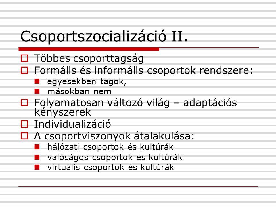 Csoportszocializáció II.  Többes csoporttagság  Formális és informális csoportok rendszere: egyesekben tagok, másokban nem  Folyamatosan változó vi