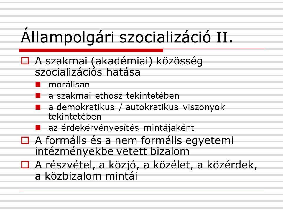 Állampolgári szocializáció II.  A szakmai (akadémiai) közösség szocializációs hatása morálisan a szakmai éthosz tekintetében a demokratikus / autokra