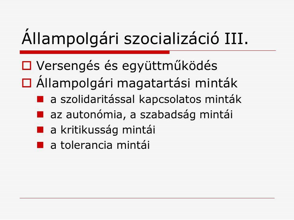 Állampolgári szocializáció III.  Versengés és együttműködés  Állampolgári magatartási minták a szolidaritással kapcsolatos minták az autonómia, a sz
